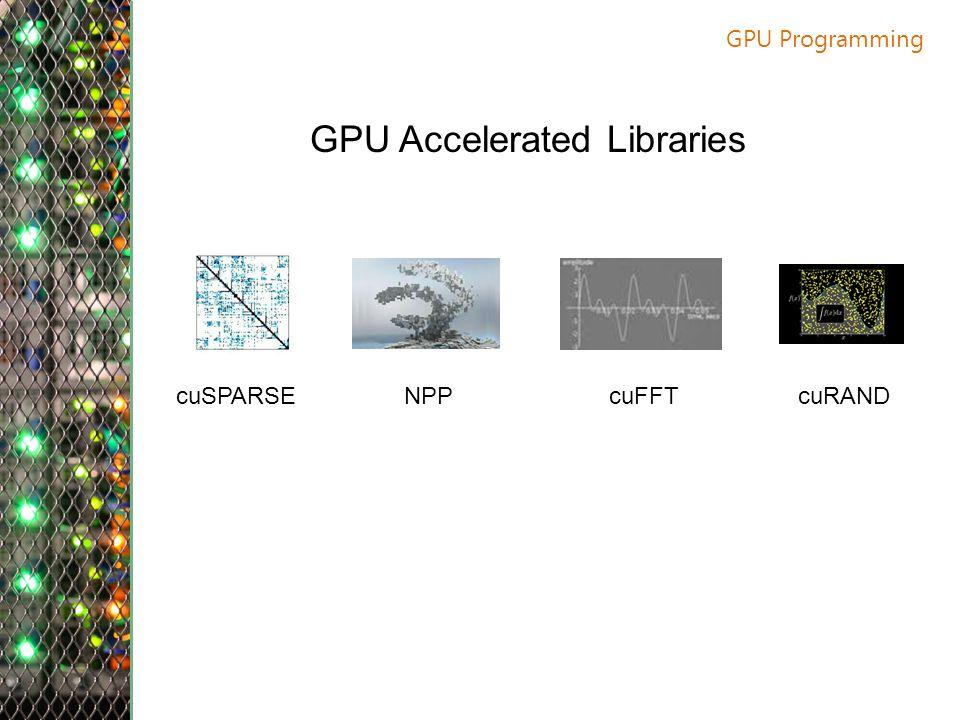 GPU Programming GPU Accelerated Libraries cuSPARSENPPcuFFTcuRAND