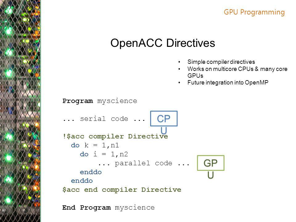 GPU Programming OpenACC Directives Program myscience...