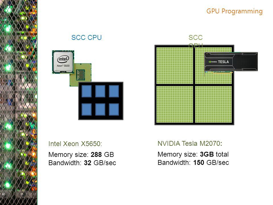 GPU Programming Intel Xeon X5650: Memory size: 288 GB Bandwidth: 32 GB/sec NVIDIA Tesla M2070: Memory size: 3GB total Bandwidth: 150 GB/sec SCC CPUSCC GPU