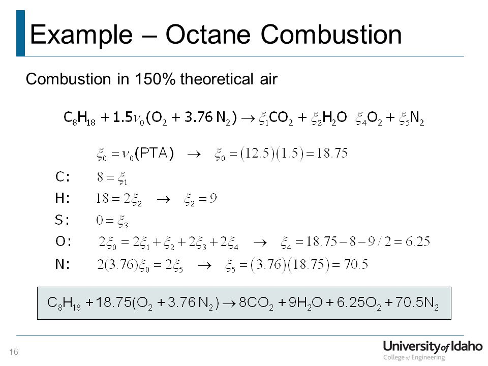 Example – Octane Combustion Combustion in 150% theoretical air 16