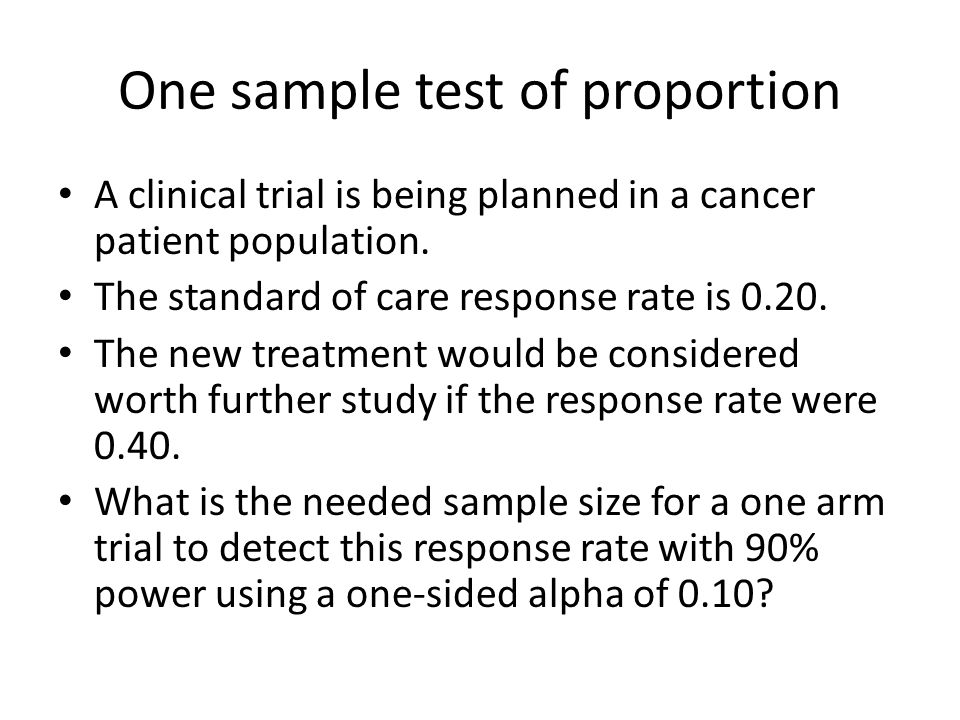 One sample test of proportion A clinical trial is being planned in a cancer patient population.