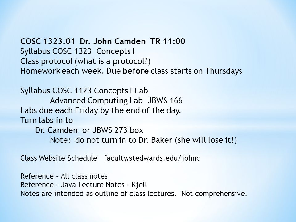 COSC 1323.01 Dr.
