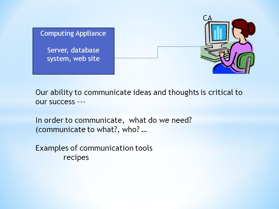 CA Our ability to communicate ideas and thoughts is critical to our success --- In order to communicate, what do we need.