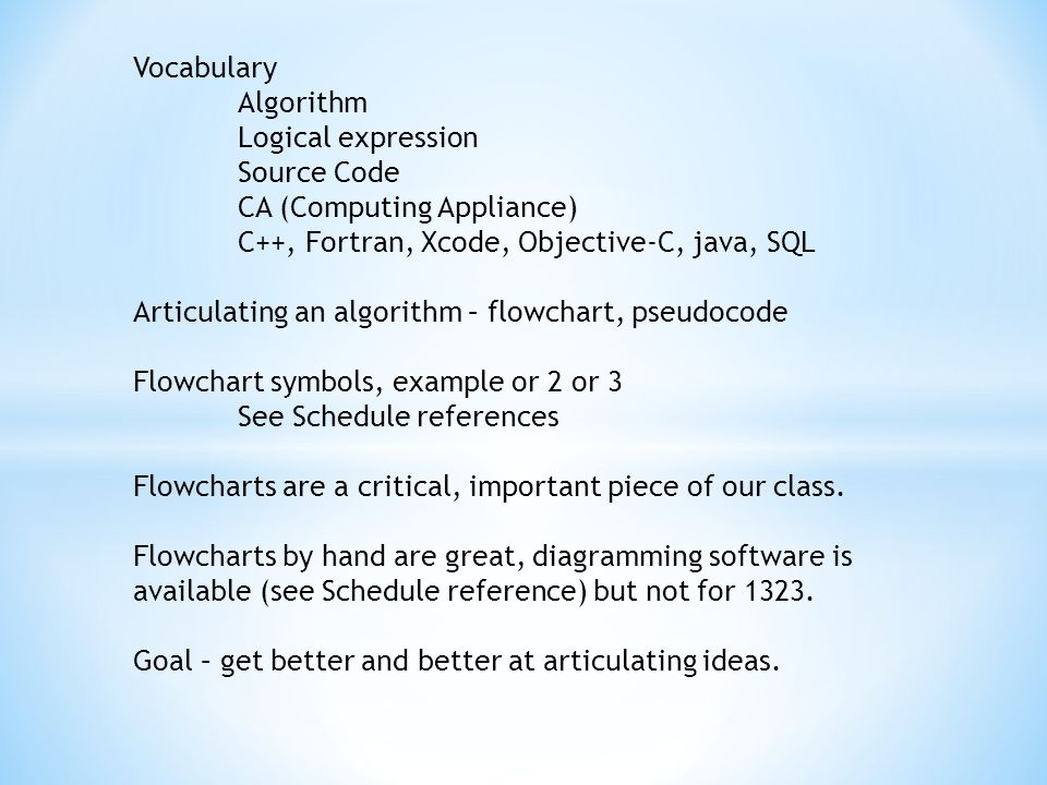 Vocabulary Algorithm Logical expression Source Code CA (Computing Appliance) C++, Fortran, Xcode, Objective-C, java, SQL Articulating an algorithm – flowchart, pseudocode Flowchart symbols, example or 2 or 3 See Schedule references Flowcharts are a critical, important piece of our class.