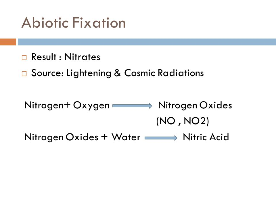 Abiotic Fixation  Result : Nitrates  Source: Lightening & Cosmic Radiations Nitrogen+ Oxygen Nitrogen Oxides (NO, NO2) Nitrogen Oxides + Water Nitric Acid