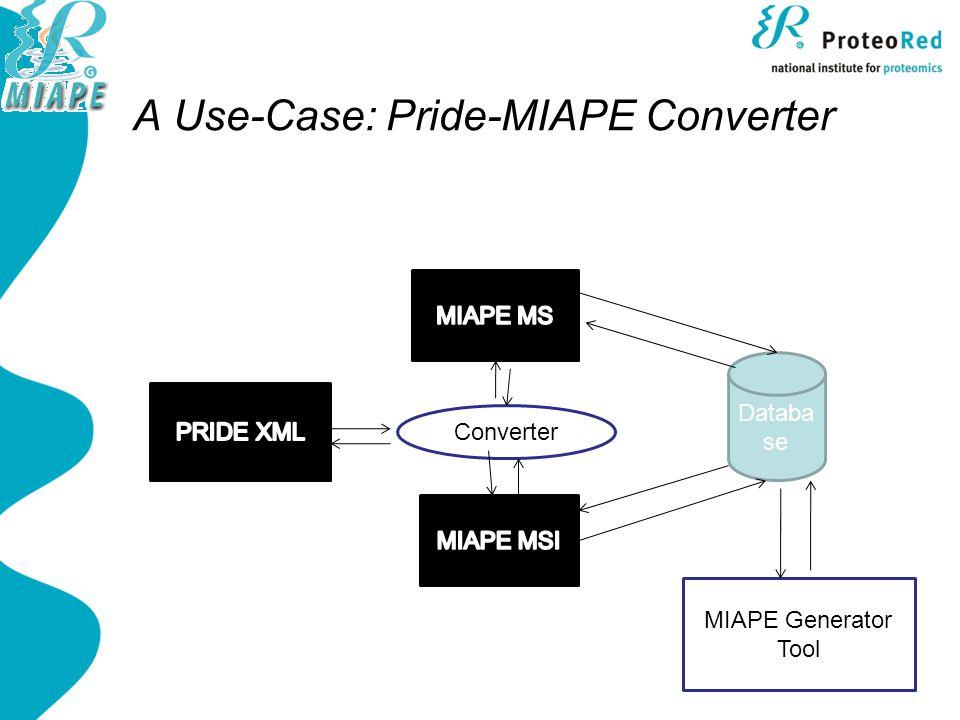 A Use-Case: Pride-MIAPE Converter Databa se MIAPE Generator Tool Converter
