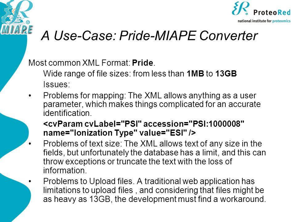 A Use-Case: Pride-MIAPE Converter Most common XML Format: Pride.