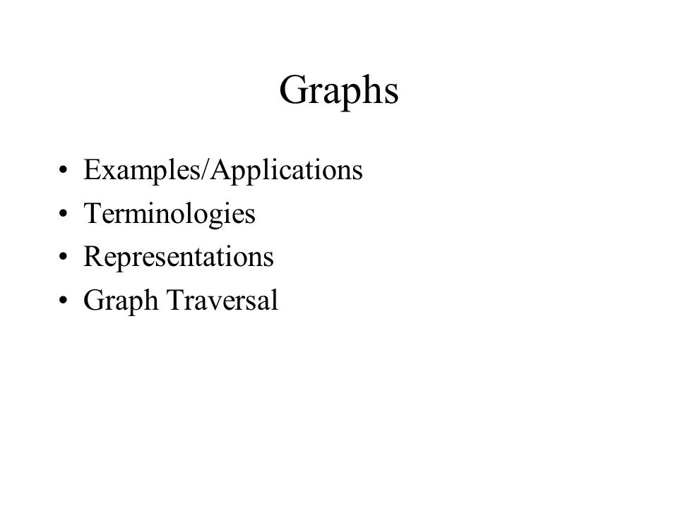 Graphs Examples/Applications Terminologies Representations Graph Traversal