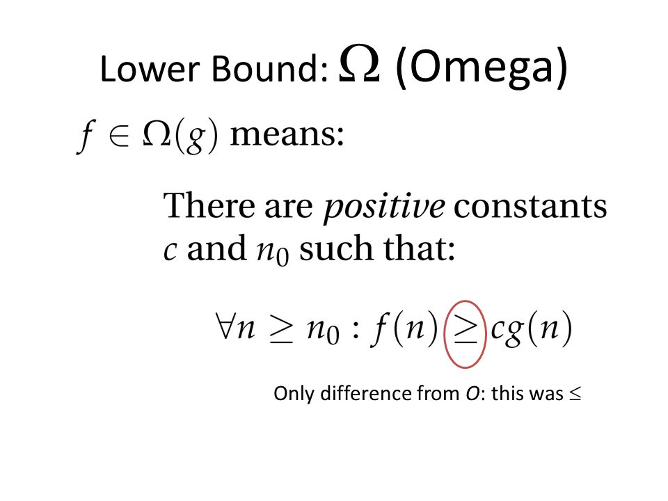 Lower Bound:  (Omega) Only difference from O: this was 