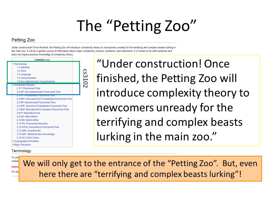 "The ""Petting Zoo"" ""Under construction! Once finished, the Petting Zoo will introduce complexity theory to newcomers unready for the terrifying and com"