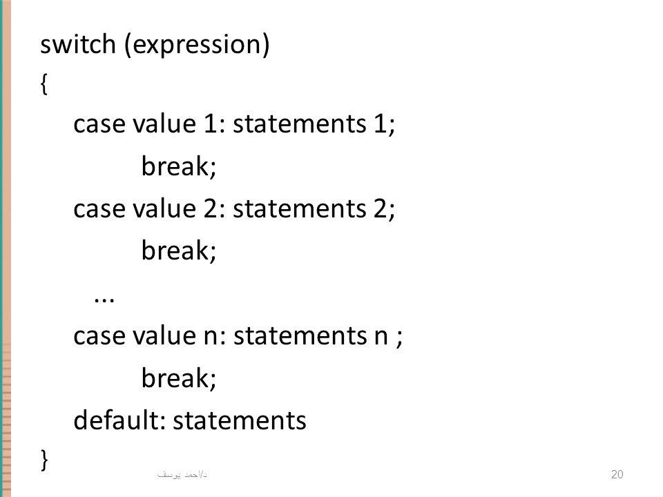 د / احمد يوسف 20 switch (expression) { case value 1: statements 1; break; case value 2: statements 2; break;... case value n: statements n ; break; de