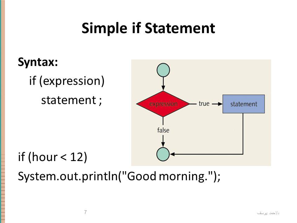 د / احمد يوسف 7 Simple if Statement Syntax: if (expression) statement ; if (hour < 12) System.out.println(
