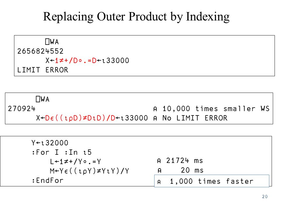 Replacing Outer Product by Indexing Y←⍳32000 :For I :In ⍳5 L←1≠+/Y∘.=Y M←Y∊((⍳⍴Y)≠Y⍳Y)/Y :EndFor ⎕WA 2656824552 X←1≠+/D∘.=D←⍳33000 LIMIT ERROR ⎕WA 270924 ⍝ 10,000 times smaller WS X←D∊((⍳⍴D)≠D⍳D)/D←⍳33000 ⍝ No LIMIT ERROR ⍝ 1,000 times faster ⍝ 21724 ms ⍝ 20 ms 20