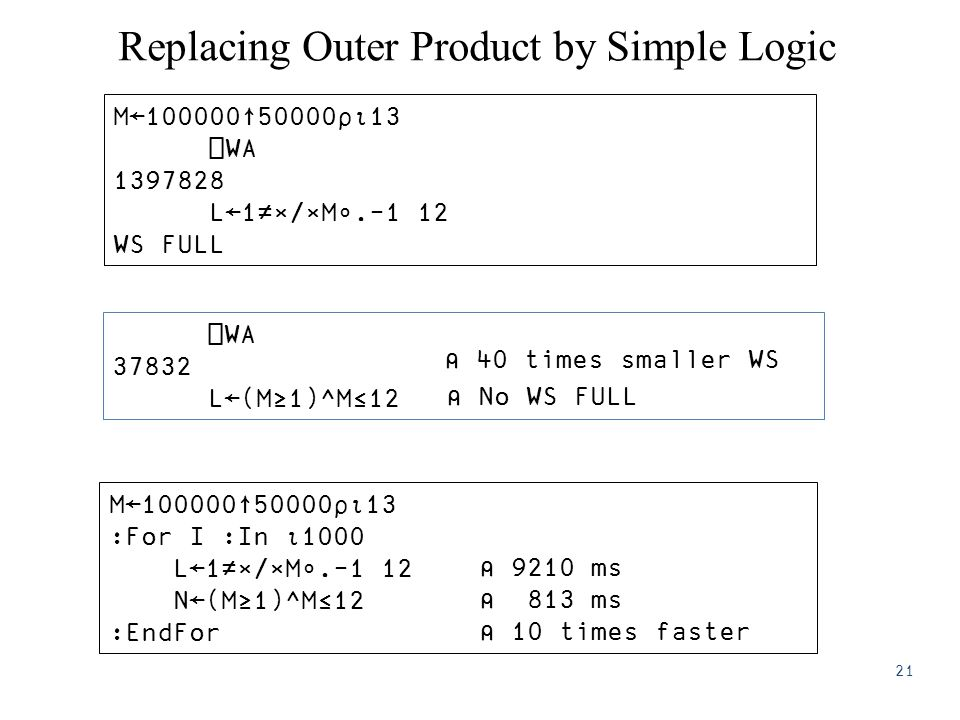 Replacing Outer Product by Simple Logic M←100000↑50000⍴⍳13 :For I :In ⍳1000 L←1≠×/×M∘.-1 12 N←(M≥1)^M≤12 :EndFor M←100000↑50000⍴⍳13 ⎕WA 1397828 L←1≠×/×M∘.-1 12 WS FULL ⎕WA 37832 L←(M≥1)^M≤12 ⍝ 40 times smaller WS ⍝ No WS FULL ⍝ 9210 ms ⍝ 813 ms ⍝ 10 times faster 21
