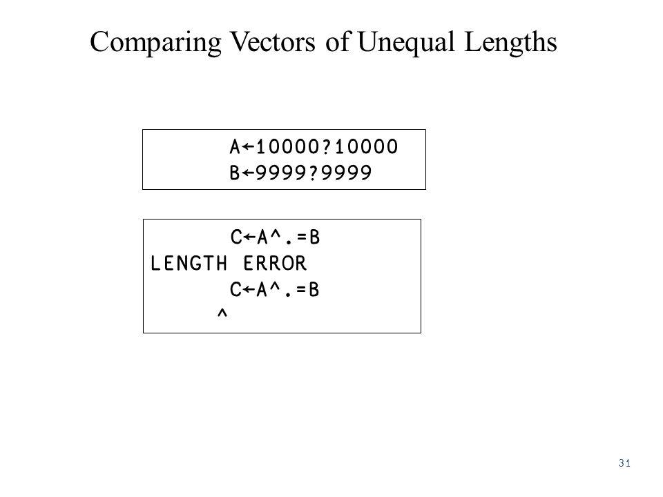 Comparing Vectors of Unequal Lengths A←10000?10000 B←9999?9999 C←A^.=B LENGTH ERROR C←A^.=B ^ 31
