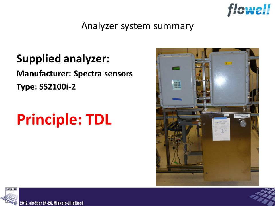 Analyzer system summary Supplied analyzer: Manufacturer: Spectra sensors Type: SS2100i-2 Principle: TDL