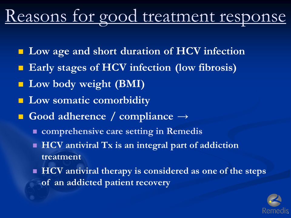 Reasons for good treatment response Low age and short duration of HCV infection Early stages of HCV infection (low fibrosis) Low body weight (BMI) Low