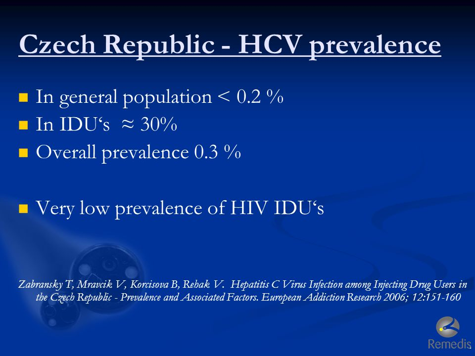 Czech Republic - HCV prevalence In general population < 0.2 % In IDU's ≈ 30% Overall prevalence 0.3 % Very low prevalence of HIV IDU's Zabransky T, Mr