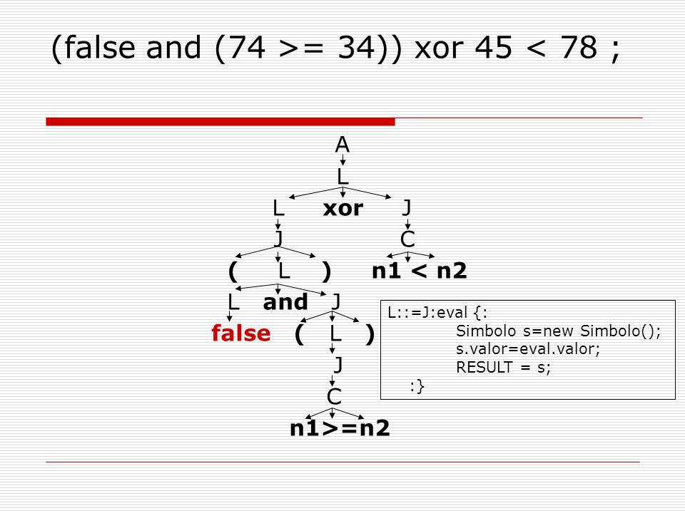 (false and (74 >= 34)) xor 45 < 78 ; A L L xor J J C ( L ) n1 < n2 L and J false ( L ) J C n1>=n2 L::=J:eval {: Simbolo s=new Simbolo(); s.valor=eval.valor; RESULT = s; :}