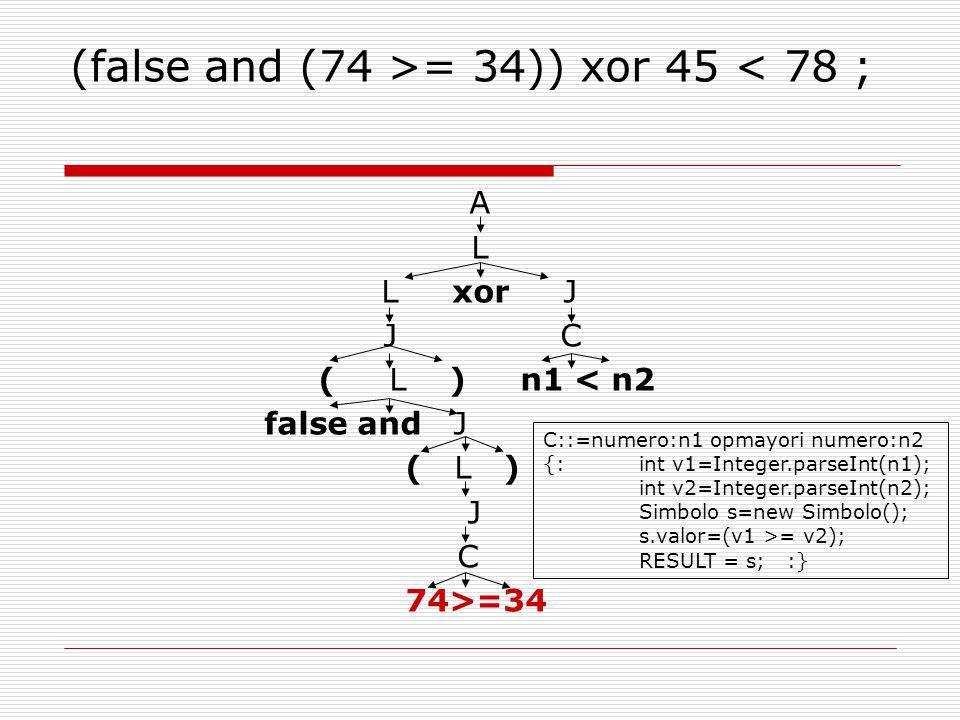(false and (74 >= 34)) xor 45 < 78 ; A L L xor J J C ( L ) n1 < n2 false and J ( L ) J C 74>=34 C::=numero:n1 opmayori numero:n2 {:int v1=Integer.parseInt(n1); int v2=Integer.parseInt(n2); Simbolo s=new Simbolo(); s.valor=(v1 >= v2); RESULT = s; :}