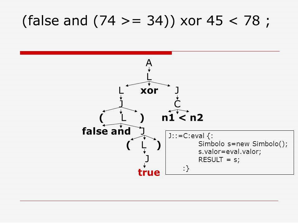 (false and (74 >= 34)) xor 45 < 78 ; A L L xor J J C ( L ) n1 < n2 false and J ( L ) J true J::=C:eval {: Simbolo s=new Simbolo(); s.valor=eval.valor; RESULT = s; :}