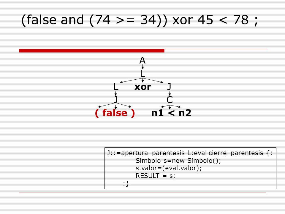 (false and (74 >= 34)) xor 45 < 78 ; A L L xor J J C ( false ) n1 < n2 J::=apertura_parentesis L:eval cierre_parentesis {: Simbolo s=new Simbolo(); s.valor=(eval.valor); RESULT = s; :}