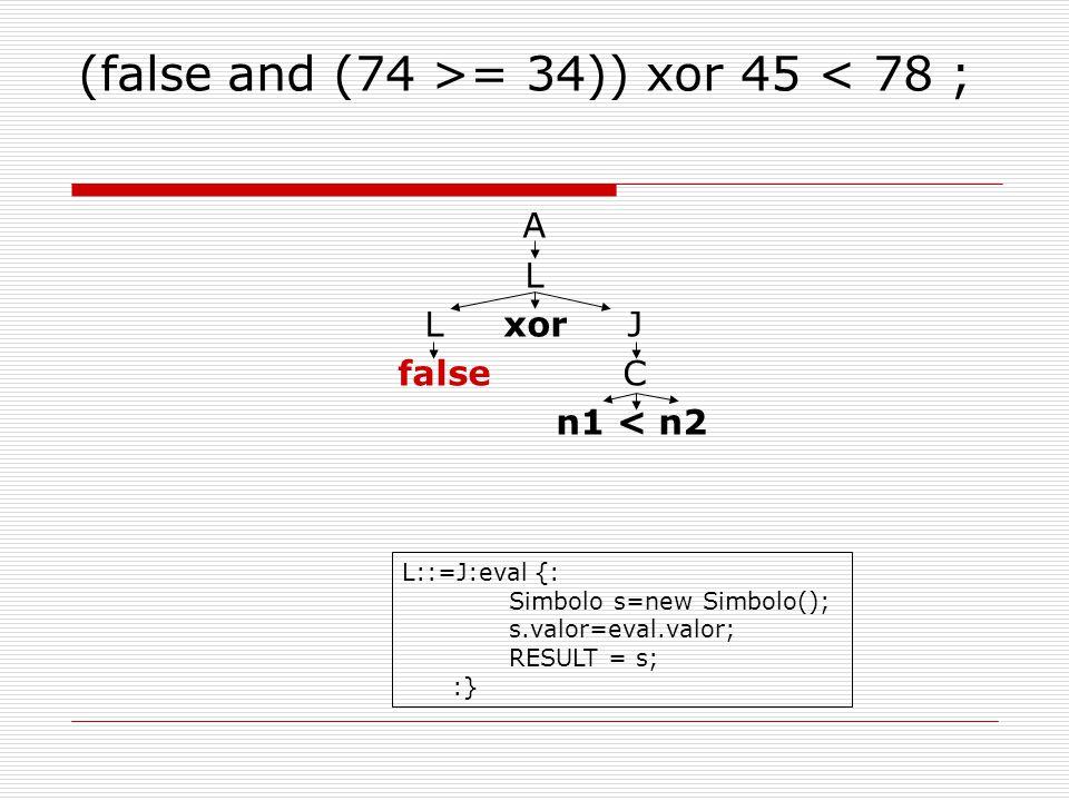 (false and (74 >= 34)) xor 45 < 78 ; A L L xor J false C n1 < n2 L::=J:eval {: Simbolo s=new Simbolo(); s.valor=eval.valor; RESULT = s; :}