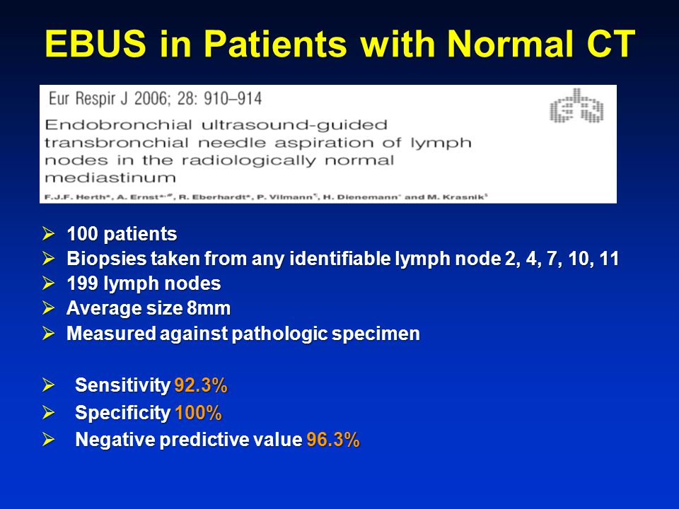 EBUS in Patients with Normal CT  100 patients  Biopsies taken from any identifiable lymph node 2, 4, 7, 10, 11  199 lymph nodes  Average size 8mm  Measured against pathologic specimen  Sensitivity 92.3%  Specificity 100%  Negative predictive value 96.3%