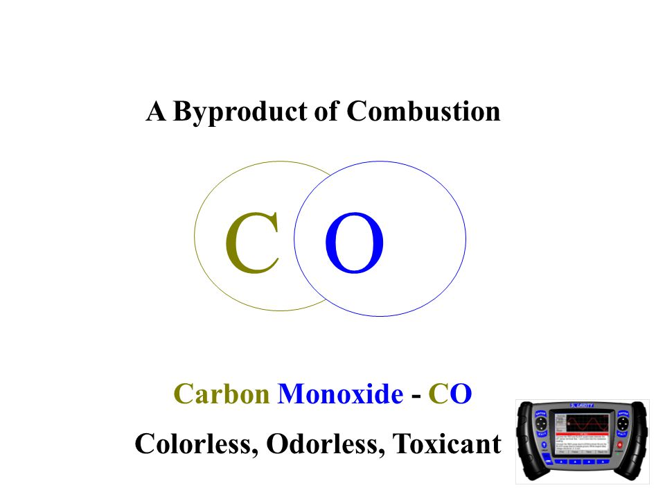 CO Carbon Monoxide - CO A Byproduct of Combustion Colorless, Odorless, Toxicant