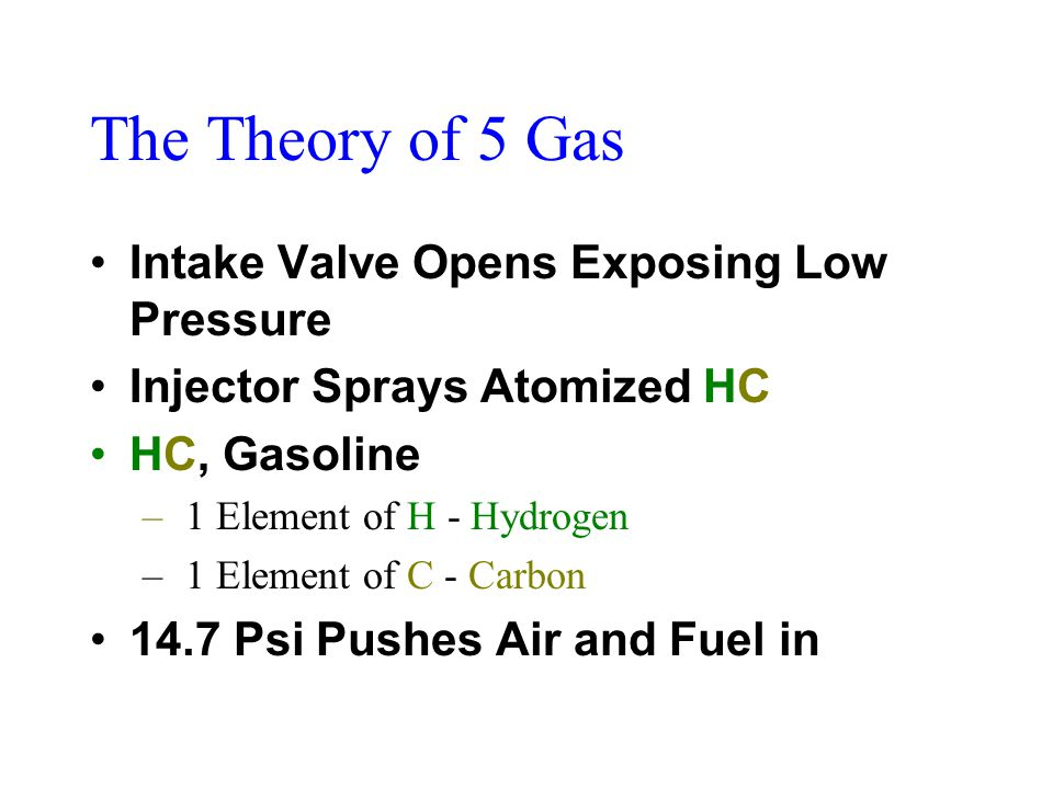 The Theory of 5 Gas Intake Valve Opens Exposing Low Pressure Injector Sprays Atomized HC HC, Gasoline – 1 Element of H - Hydrogen – 1 Element of C - Carbon 14.7 Psi Pushes Air and Fuel in