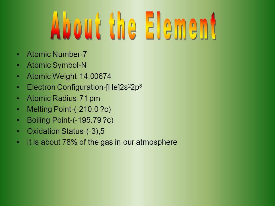 Atomic Number-7 Atomic Symbol-N Atomic Weight-14.00674 Electron Configuration-[He]2s 2 2p 3 Atomic Radius-71 pm Melting Point-(-210.0 ?c) Boiling Poin