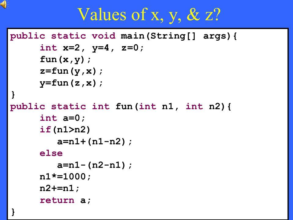 36 Values of x, y, & z.