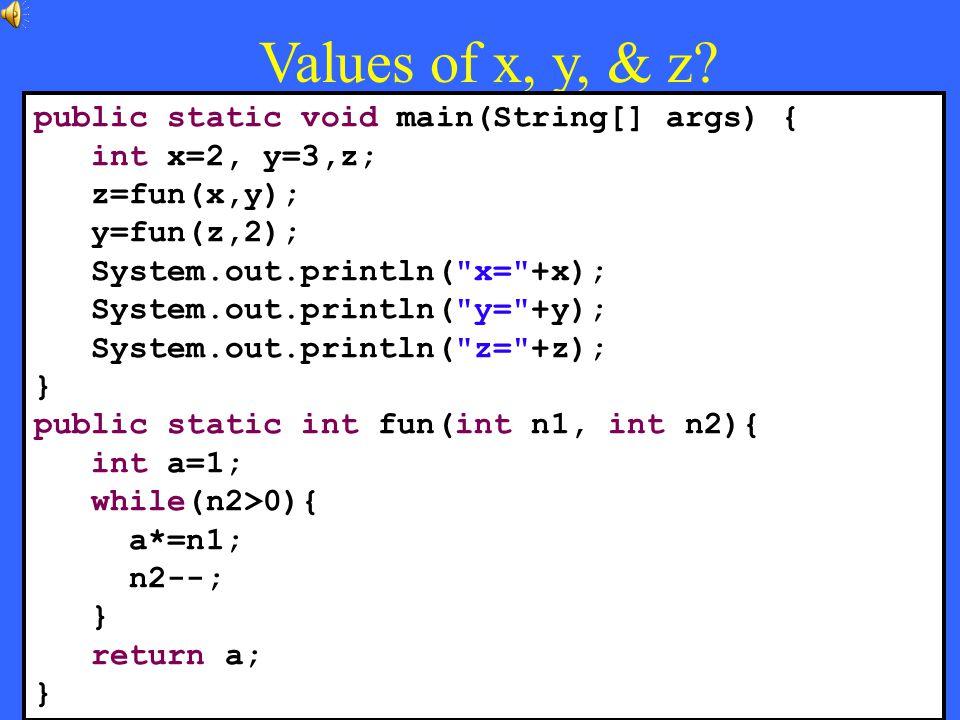 38 Values of x, y, & z.