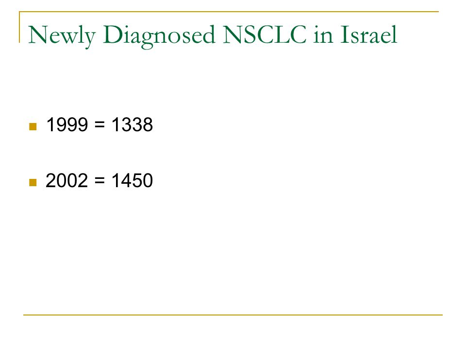 Newly Diagnosed NSCLC in Israel 1999 = 1338 2002 = 1450