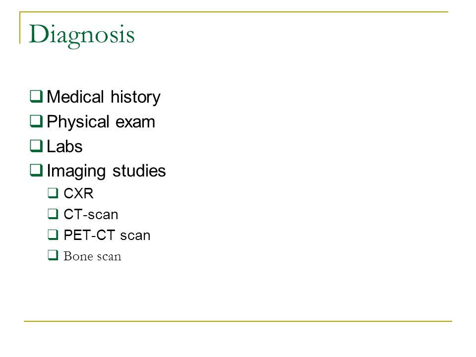 Diagnosis  Medical history  Physical exam  Labs  Imaging studies  CXR  CT-scan  PET-CT scan  Bone scan