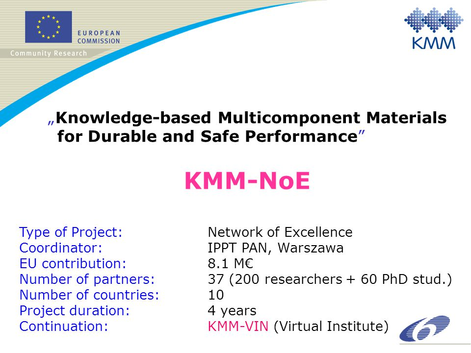 "KMM-NoE ""Knowledge-based Multicomponent Materials for Durable and Safe Performance Type of Project: Network of Excellence Coordinator:IPPT PAN, Warszawa EU contribution: 8.1 M€ Number of partners: 37 (200 researchers + 60 PhD stud.) Number of countries: 10 Project duration: 4 years Continuation: KMM-VIN (Virtual Institute)"