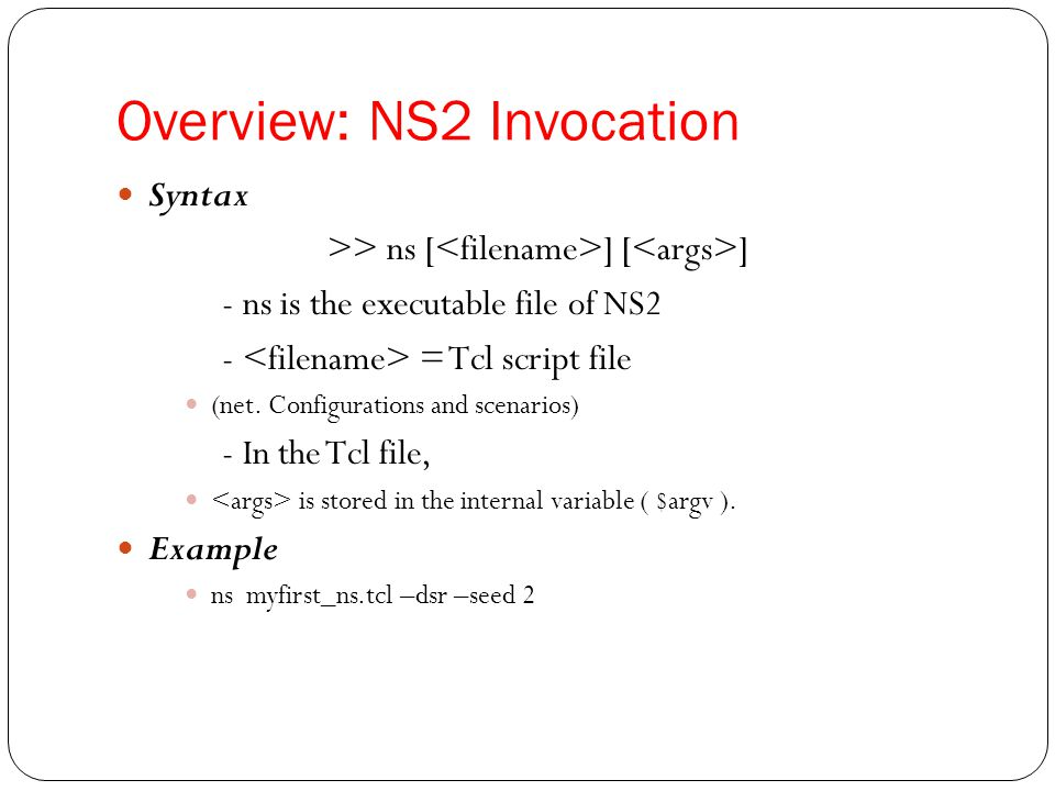 Outlines Overview Installation An Example Incorporate C++ Modules into NS2
