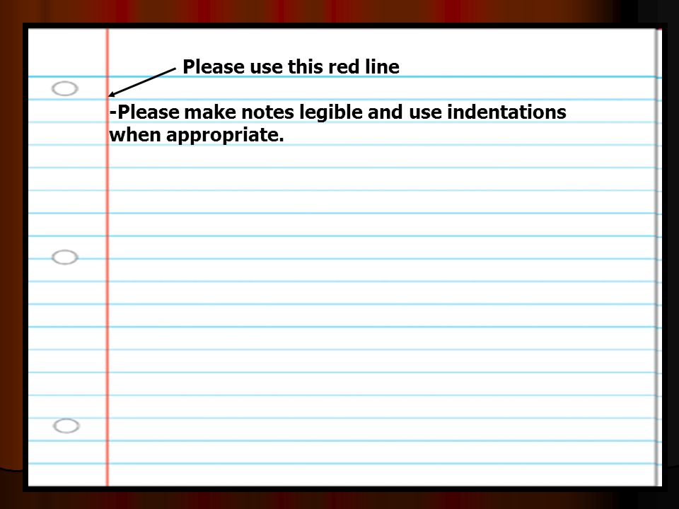 -Please make notes legible and use indentations when appropriate.