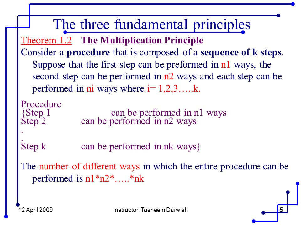 12 April 2009Instructor: Tasneem Darwish5 Theorem 1.2The Multiplication Principle Consider a procedure that is composed of a sequence of k steps.