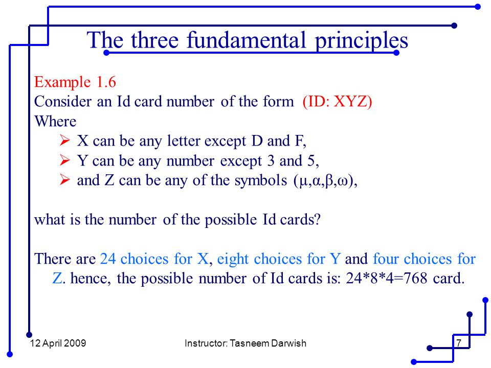 12 April 2009Instructor: Tasneem Darwish7 Example 1.6 Consider an Id card number of the form (ID: XYZ) Where  X can be any letter except D and F,  Y can be any number except 3 and 5,  and Z can be any of the symbols (µ,α,β,ω), what is the number of the possible Id cards.