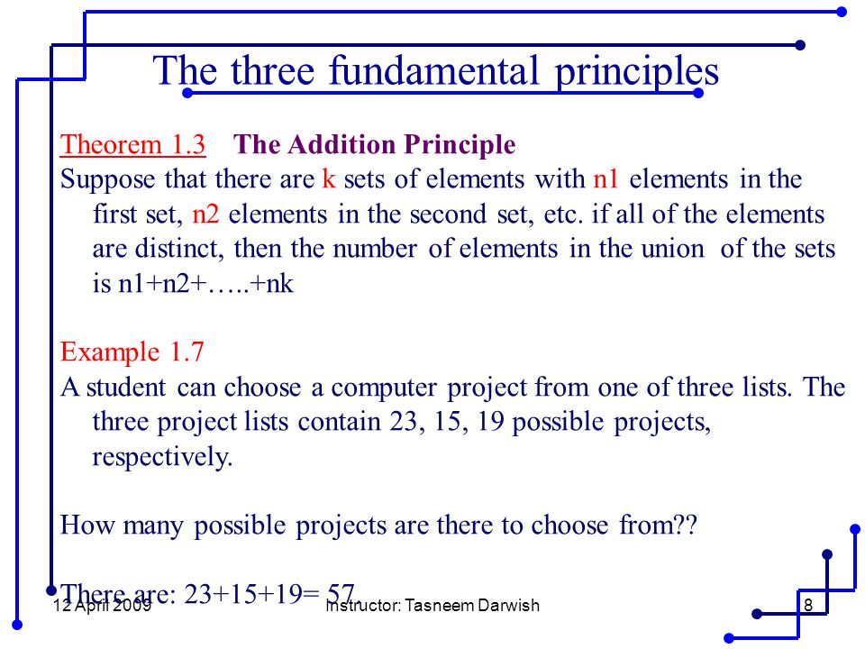 12 April 2009Instructor: Tasneem Darwish8 Theorem 1.3 The Addition Principle Suppose that there are k sets of elements with n1 elements in the first set, n2 elements in the second set, etc.