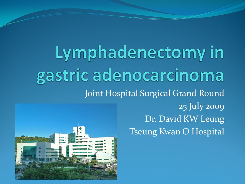 Joint Hospital Surgical Grand Round 25 July 2009 Dr. David KW Leung Tseung Kwan O Hospital