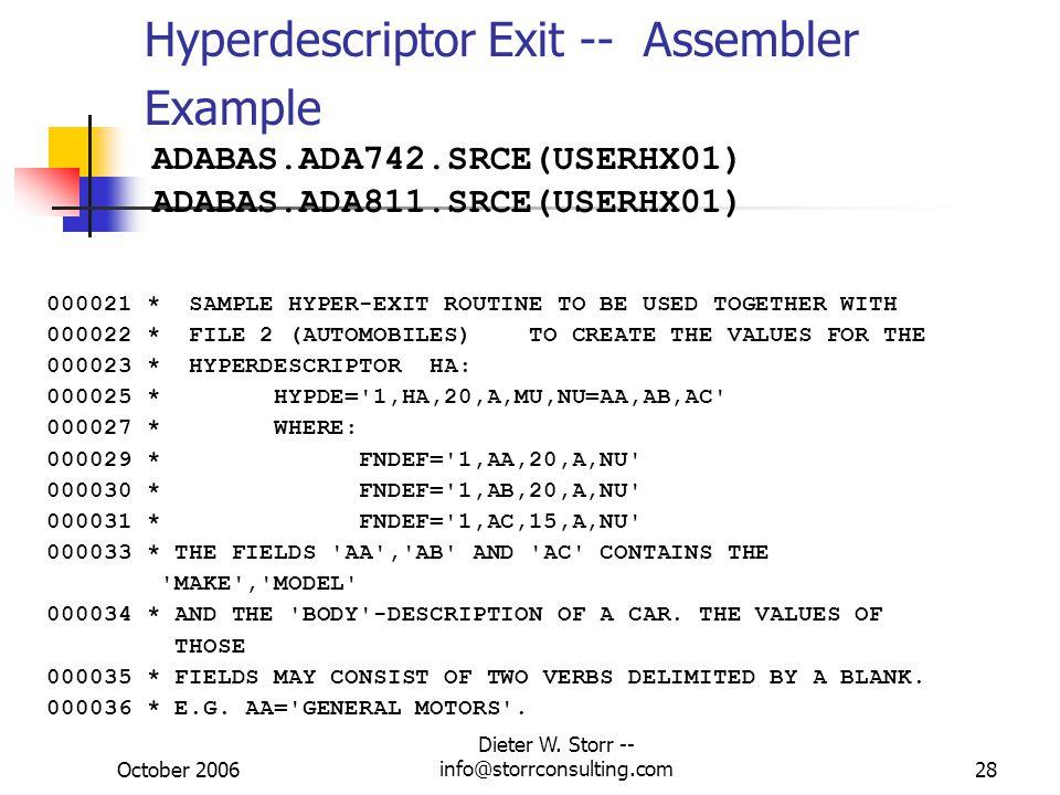 October 2006 Dieter W. Storr -- info@storrconsulting.com29 Hyperdescriptor Exit – UNIX/Win
