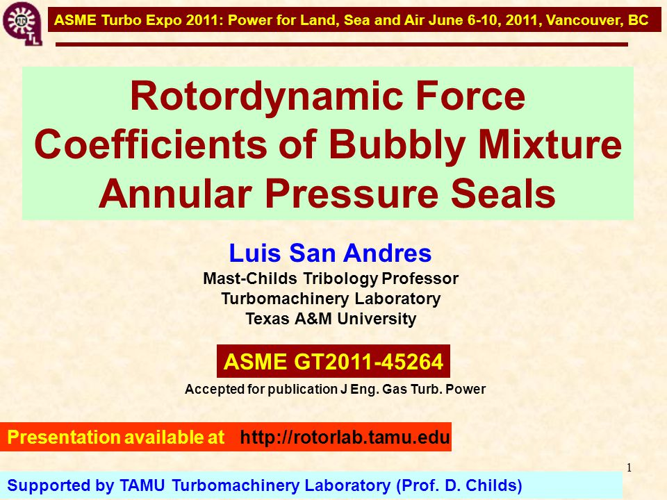 12 Background literature Bubbly SFD Diaz, S., Beets, T., and San Andrés, L., 2000, Pressure Measurements and Flow Visualization in a Squeeze Film Damper Operating With a Bubbly Mixture 30 o Uniform Pressure Zone: Maximum Film Thickness Onset of Positive Squeeze Maximum Gas Volume Fraction Non-Uniform Streaks (fingering) Minimum Pressure Zone: Film Thickness Increasing Onset of Air Ingestion Incoming gas from Discharge Maximum Pressure Zone: Film Thickness Decreasing Minimum Gas Volume Fraction Uniform Mixture  =0.540 SFD (CCO): c=0.254 mm, e=0.180 mm, 500 rpm, ISO VG 68 See digital videos at http://rotorlab.tamu.edu