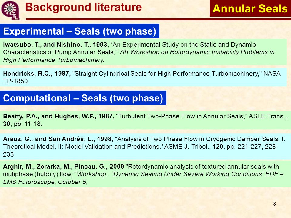 9 Background literature Experimental – Seals (two phase) Iwatsubo, T., and Nishino, T., 1993, An Experimental Study on the Static and Dynamic Characteristics of Pump Annular Seals, 7th Workshop on Rotordynamic Instability Problems in High Performance Turbomachinery.