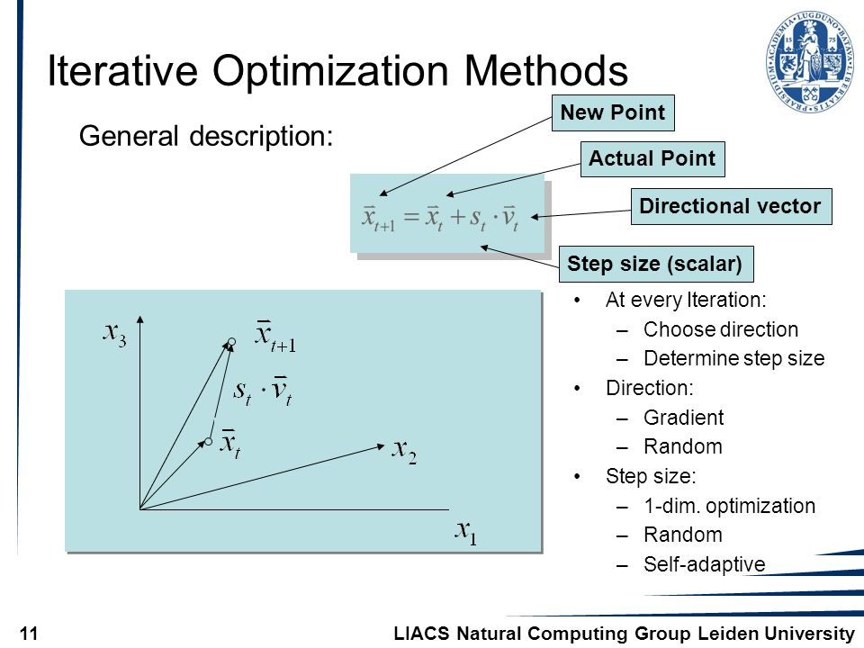 LIACS Natural Computing Group Leiden University11 Iterative Optimization Methods General description: Actual PointNew PointDirectional vectorStep size (scalar) At every Iteration: –Choose direction –Determine step size Direction: –Gradient –Random Step size: –1-dim.