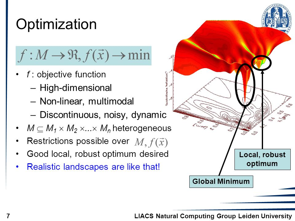 LIACS Natural Computing Group Leiden University7 Optimization f : objective function –High-dimensional –Non-linear, multimodal –Discontinuous, noisy, dynamic M  M 1  M 2 ...