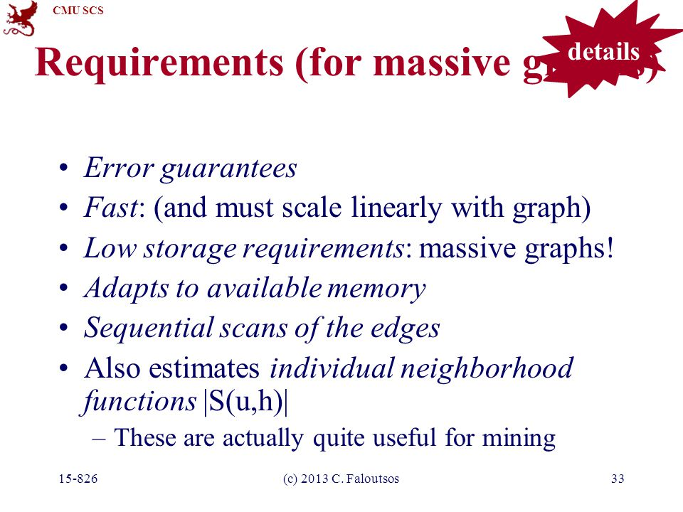 CMU SCS 15-826(c) 2013 C. Faloutsos33 Requirements (for massive graphs) Error guarantees Fast: (and must scale linearly with graph) Low storage requir