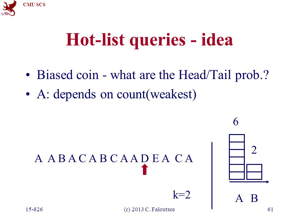 CMU SCS 15-826(c) 2013 C. Faloutsos61 Hot-list queries - idea Biased coin - what are the Head/Tail prob.? A: depends on count(weakest) A A B A C A B C