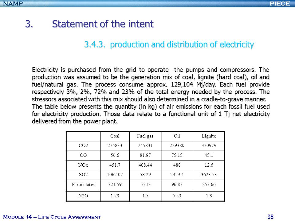 PIECENAMP Module 14 – Life Cycle Assessment 35 3.Statement of the intent 3.4.3.